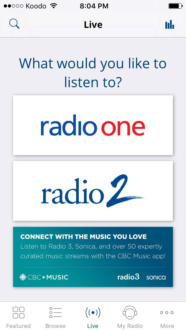 iOS App - Listen to live radio